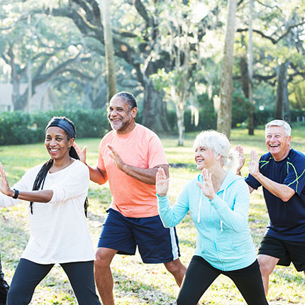 Seniors practicing Tai Chi in a park