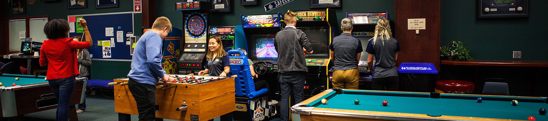 Students playing games in the recreation center at SFCC.