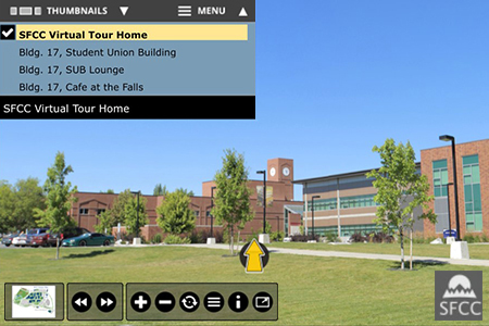 Virtual tour screen shot of SFCC campus