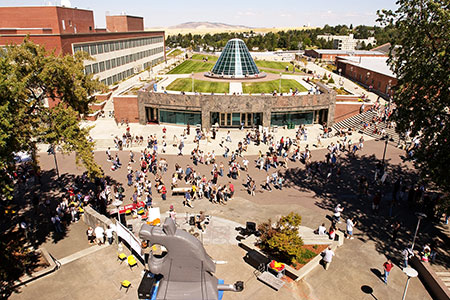 Photo of WSU campus outdoor mall.