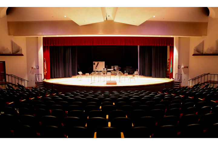 Front view of stage in Performing Arts Auditorium