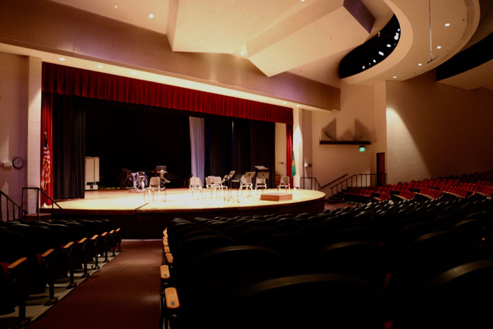 Side view of stage in Performing Arts Auditorium