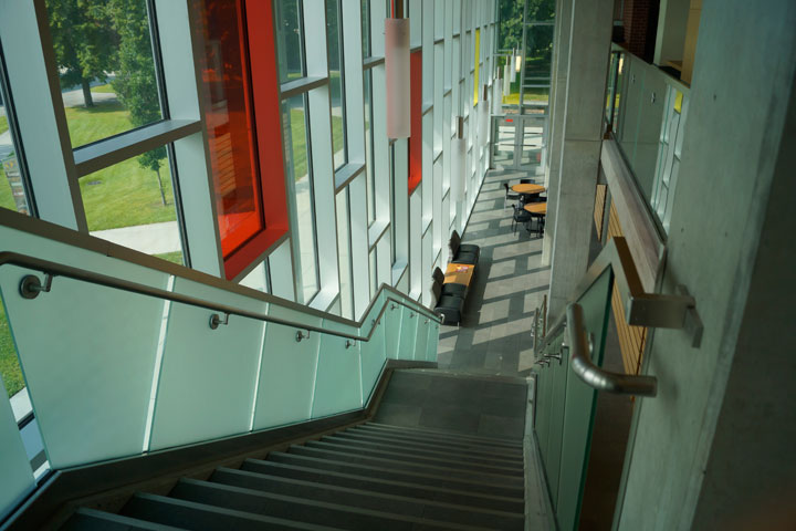 Stairway down to lobby area from upper level