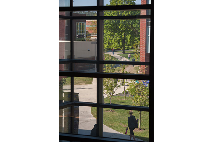 View out the upper level window of walkway to Building 5