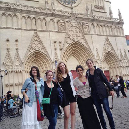 Study Abroad Students in Lyon, France posing outside.