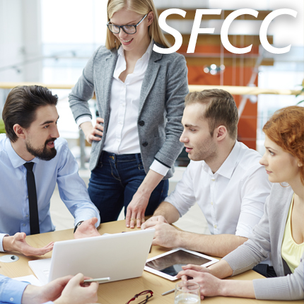 Four young business people in a meeting
