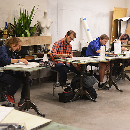 Students drawing in the studio