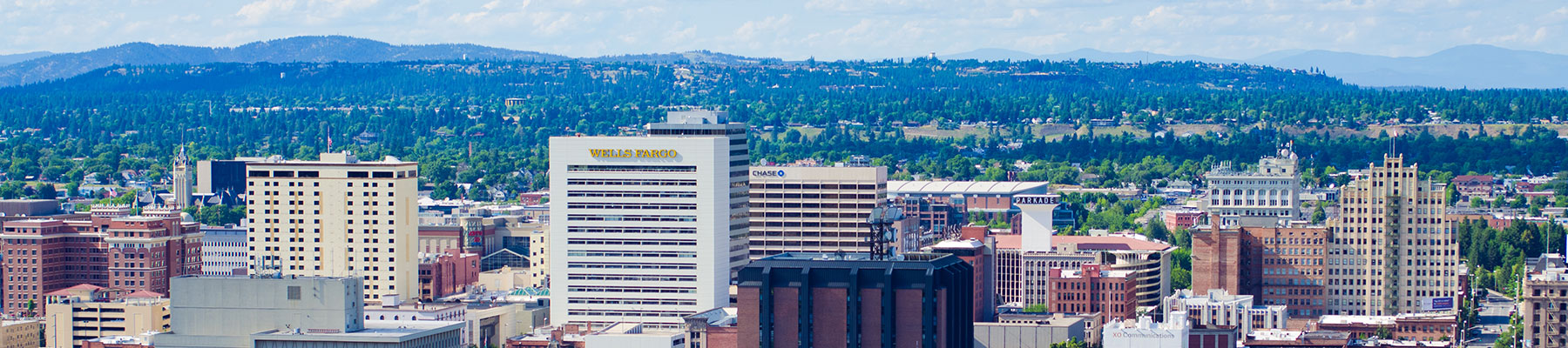 Downtown view of the buildings in Spokane.