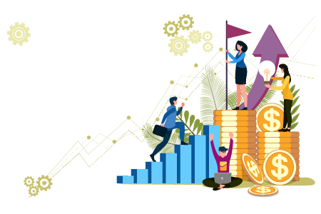 illustration of students walking up steps to higher earnings