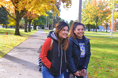 Smiling girls on campus