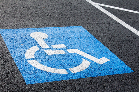 Reserved parking space for those with disabilities